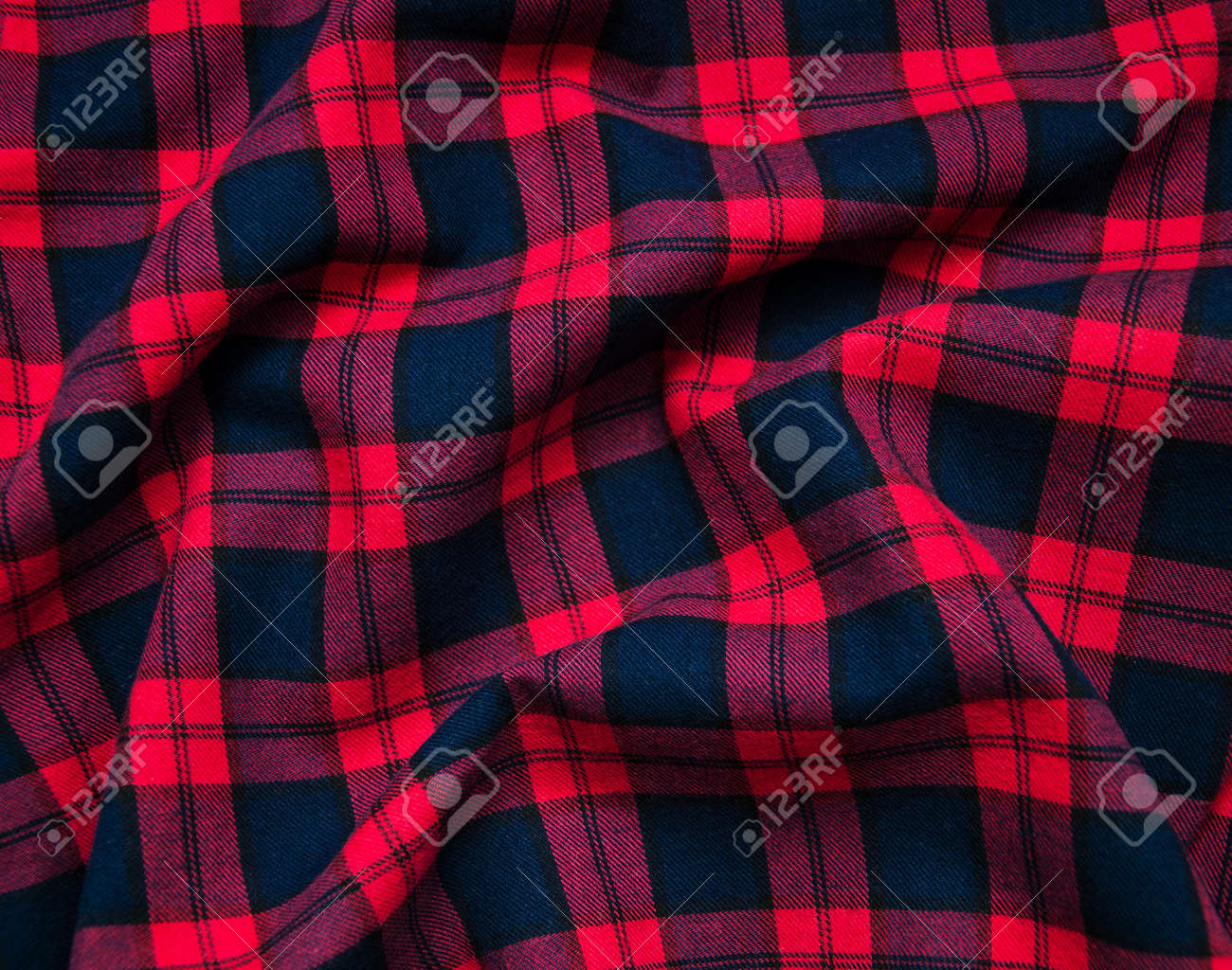 Texture Of Red Black Checkered Fabric Pattern Background Stock Photo