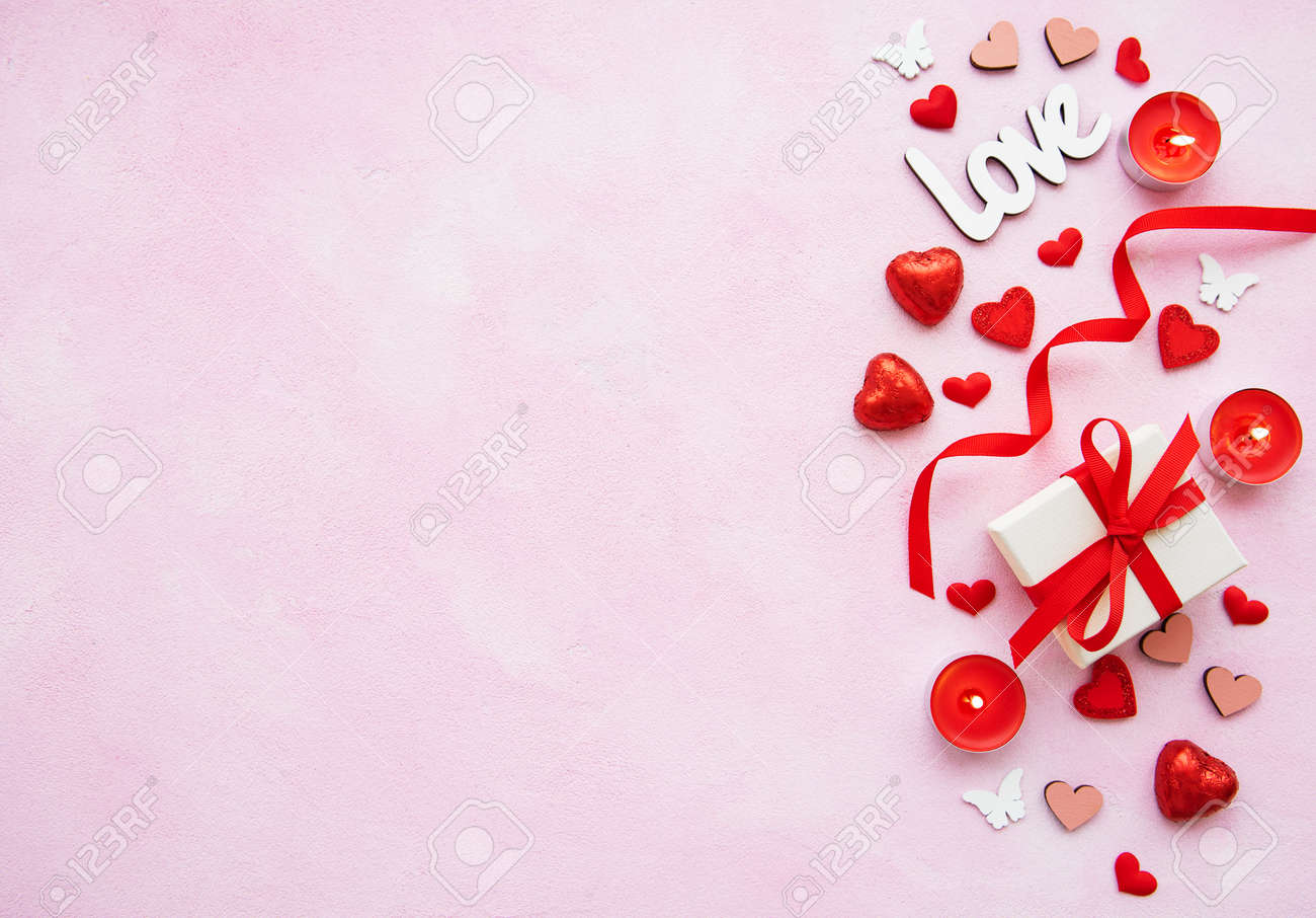 Valentines Day Romantic Background Decorative Hearts Gift Stock Photo Picture And Royalty Free Image Image 115073879