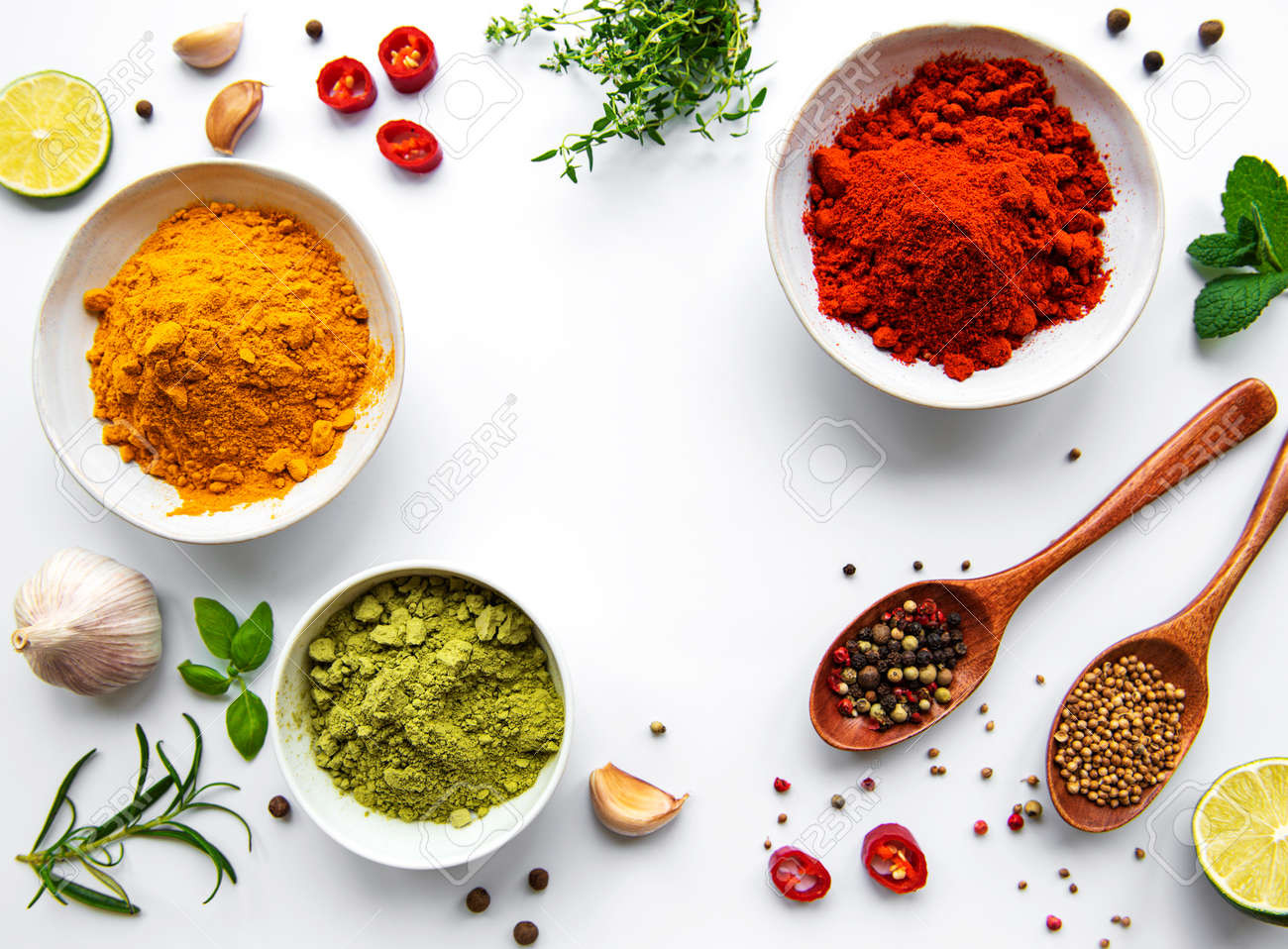 Various spices isolated on white background, top view - 168184753