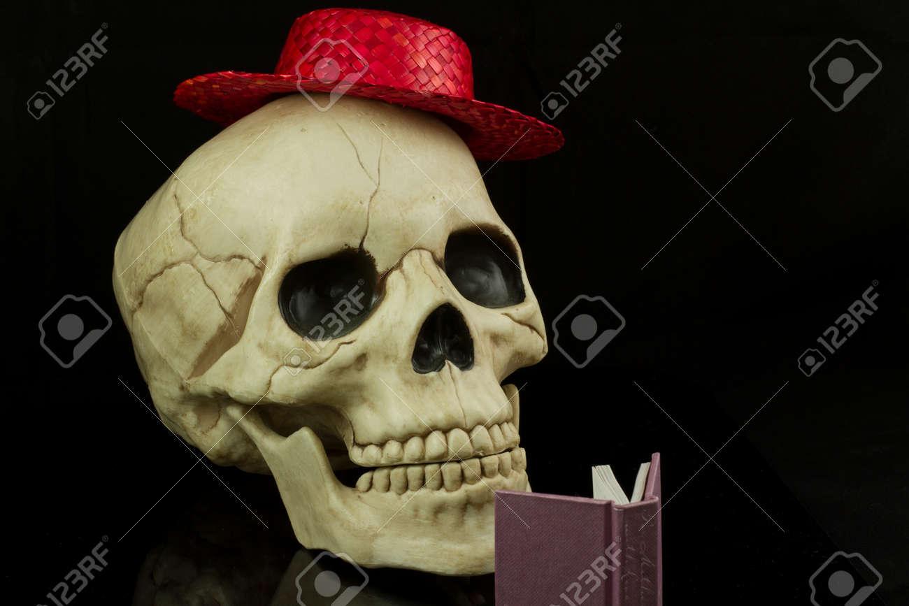 Cráneo Que Lleva Un Sombrero De Paja De Color Rojo Y La Lectura De ...