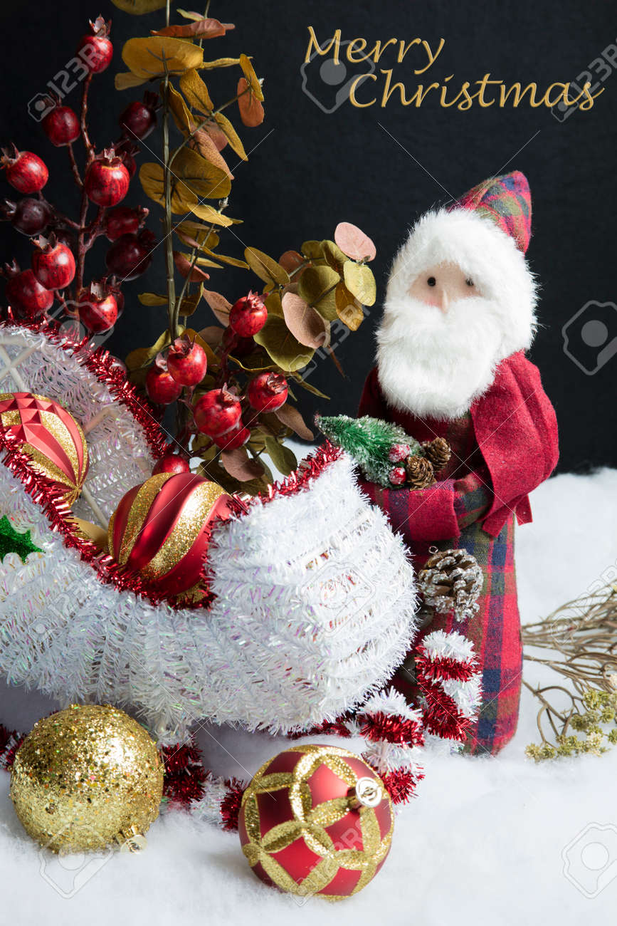 Home Decor Santa And His Sleigh On Snow And Tree Decorations.. Stock ...