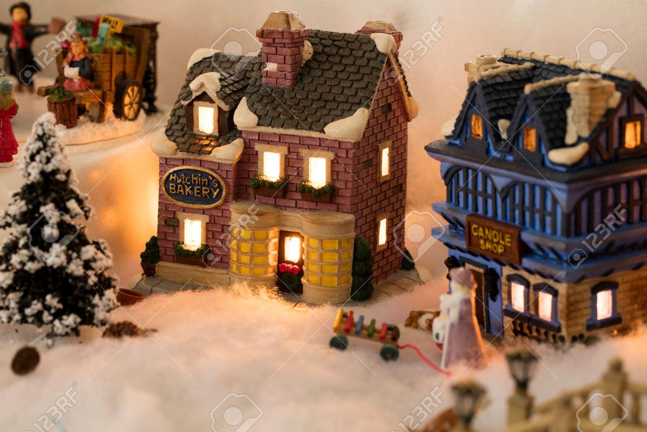 Miniature Christmas Village.Miniature Christmas Village Scene With Houses Trees People