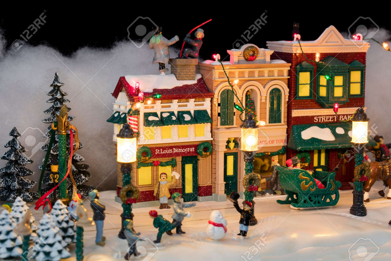 Christmas Village.Miniature Christmas Village Scene With Houses Trees People