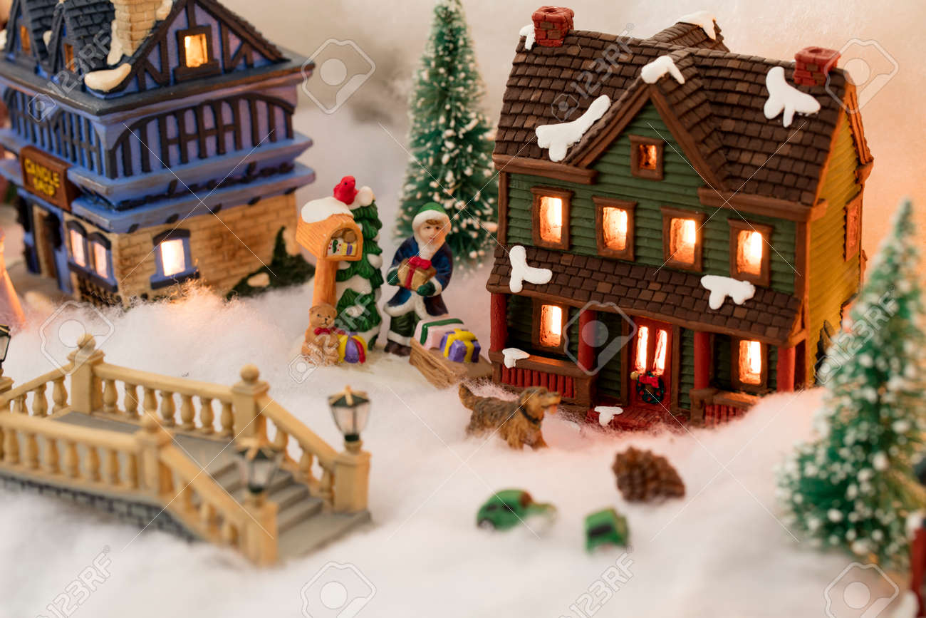 Christmas Village Houses.Miniature Christmas Village Scene With Houses Trees People
