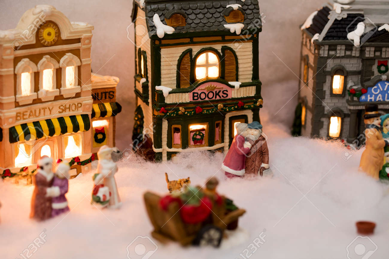 Christmas Houses.Miniature Christmas Village Scene With Houses Trees People