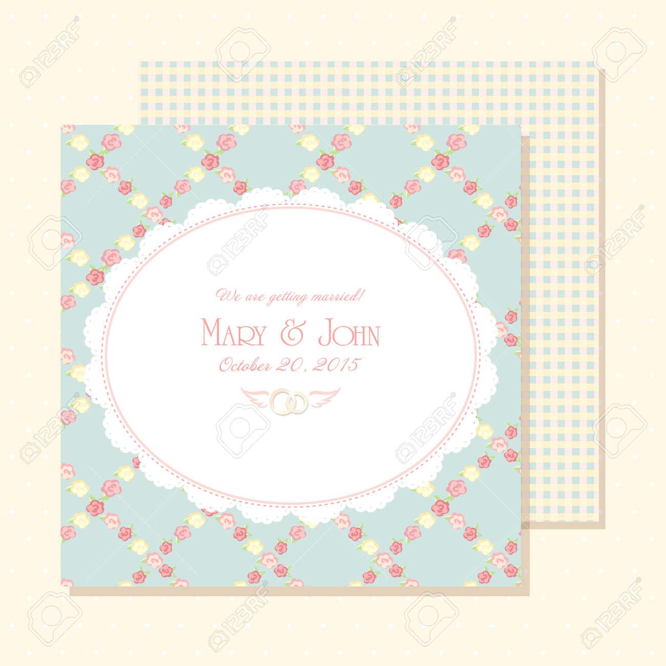 Tarjeta De Invitación Matrimonio Ilustración Del Vector Diseño Elegante Lamentable Color Azul Reserva