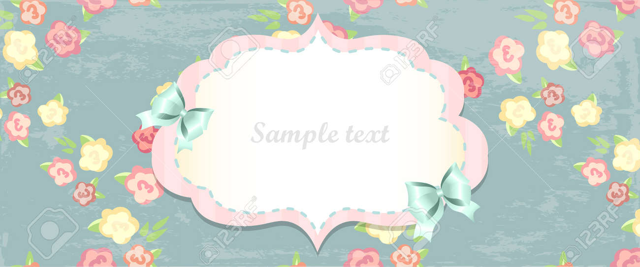Cute Blue And Pink Card Shabby Chic Vintage Frame With Roses