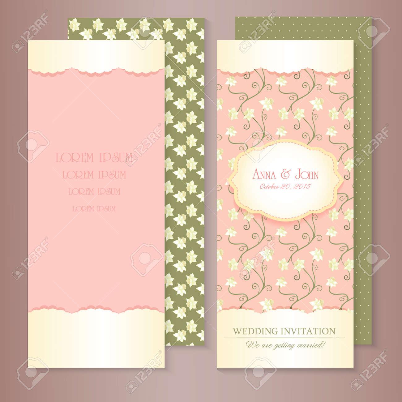 Marriage Invitation Card Set Vector Illustration Floral Save