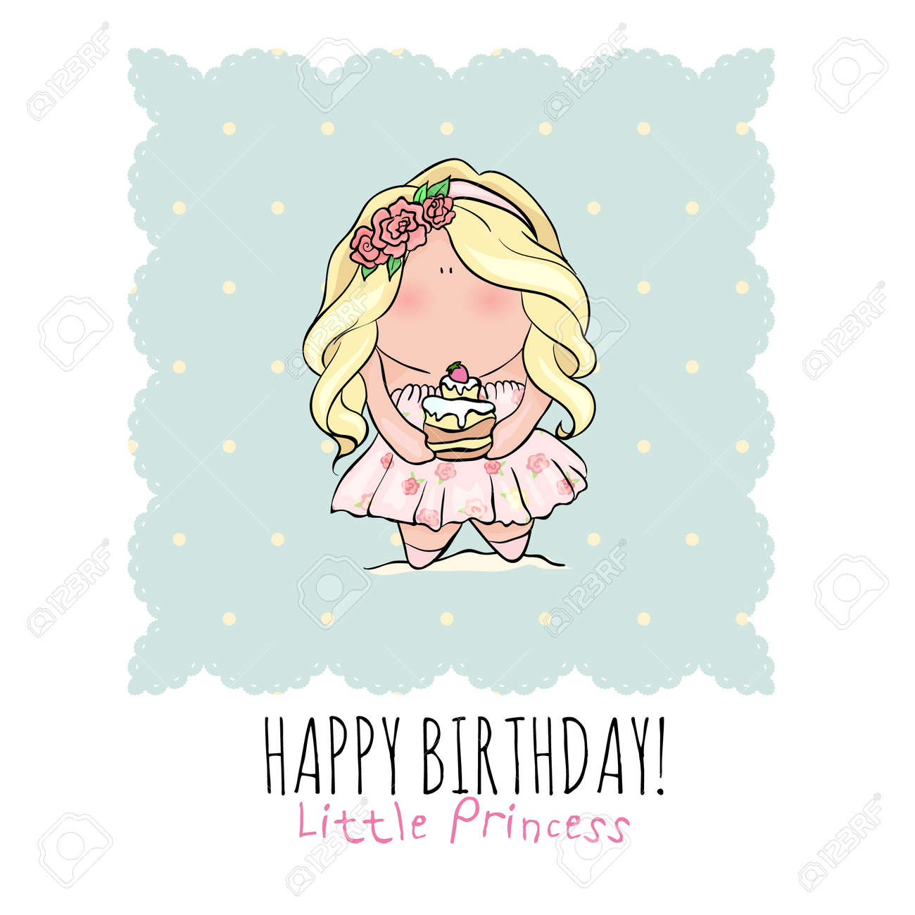 Happy Birthday Poster In Cute Doodle Style Little Girl Holding