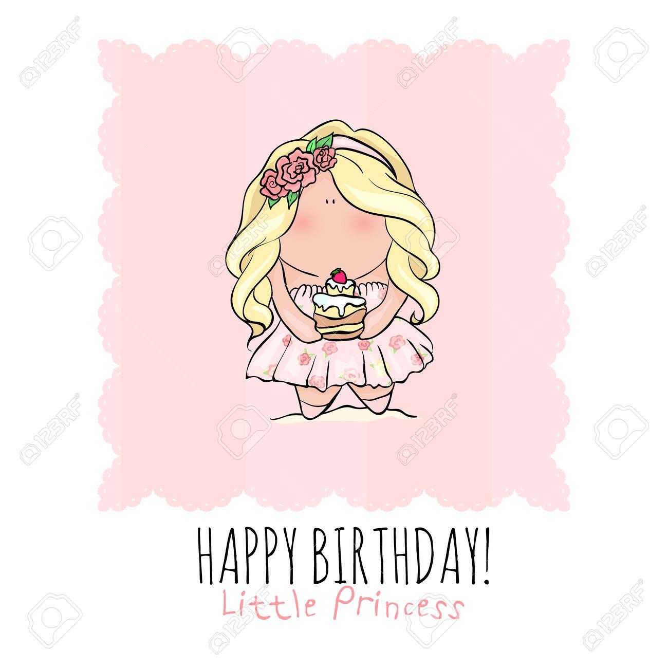 Affiche De Joyeux Anniversaire Dans Le Style Mignon De Griffonnage Petite Fille Gâteau Holding Couleur Bleu Et Rose Princesse Avec Petit Gâteau