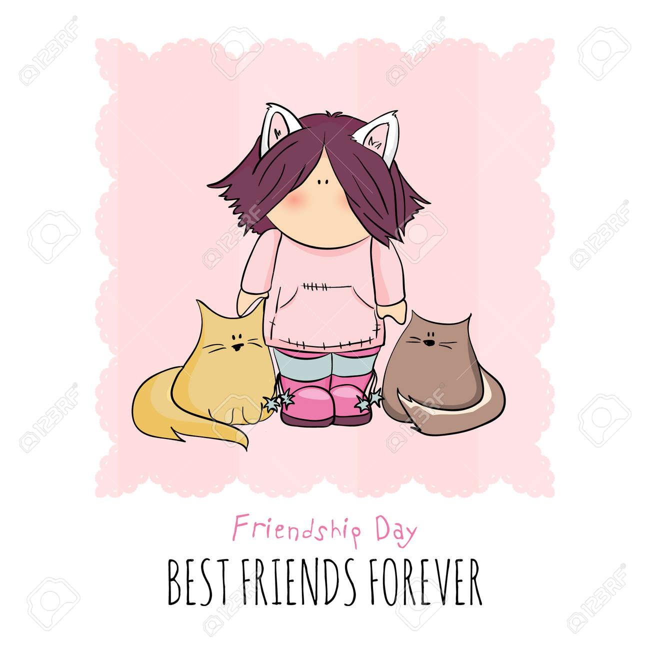 Linda Chica Con Gatos Ilustración De Dibujo Dia De La Amistad
