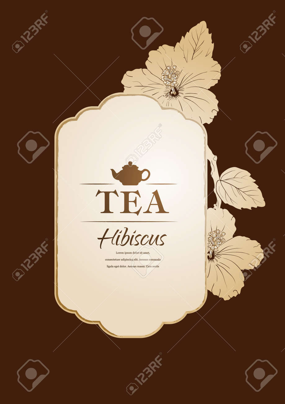 Chinese Rose Template Packaging Tea Label Banner Poster Identity Branding Hand Drawn Teapot With Hibiscus Stylish Design For Herb Red Karkade