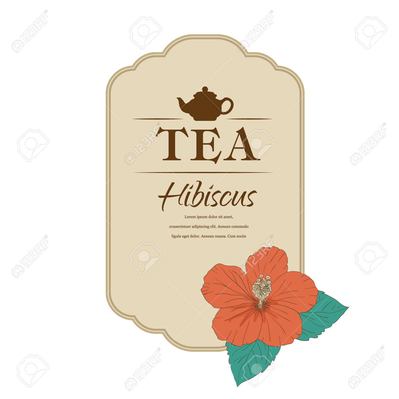 Chinese Rose Template Packaging Tea Label Banner Poster Identity Branding Hand Drawn Teapot With Hibiscus Stylish Design For Herb Red Carcade