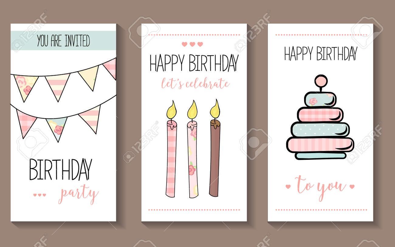 set of vector birthday party invitations or congratulation cards
