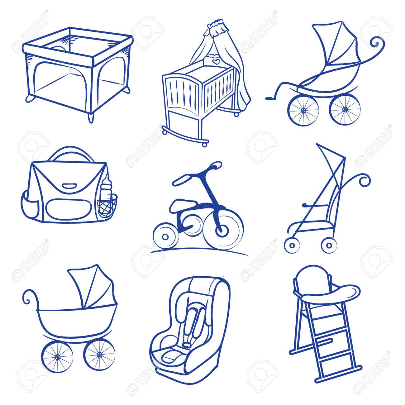 Stuhl gezeichnet  Baby-Zubehör-Icon-Set. Linie Skizze, Stuhl Gezeichnet Hand-Baby ...