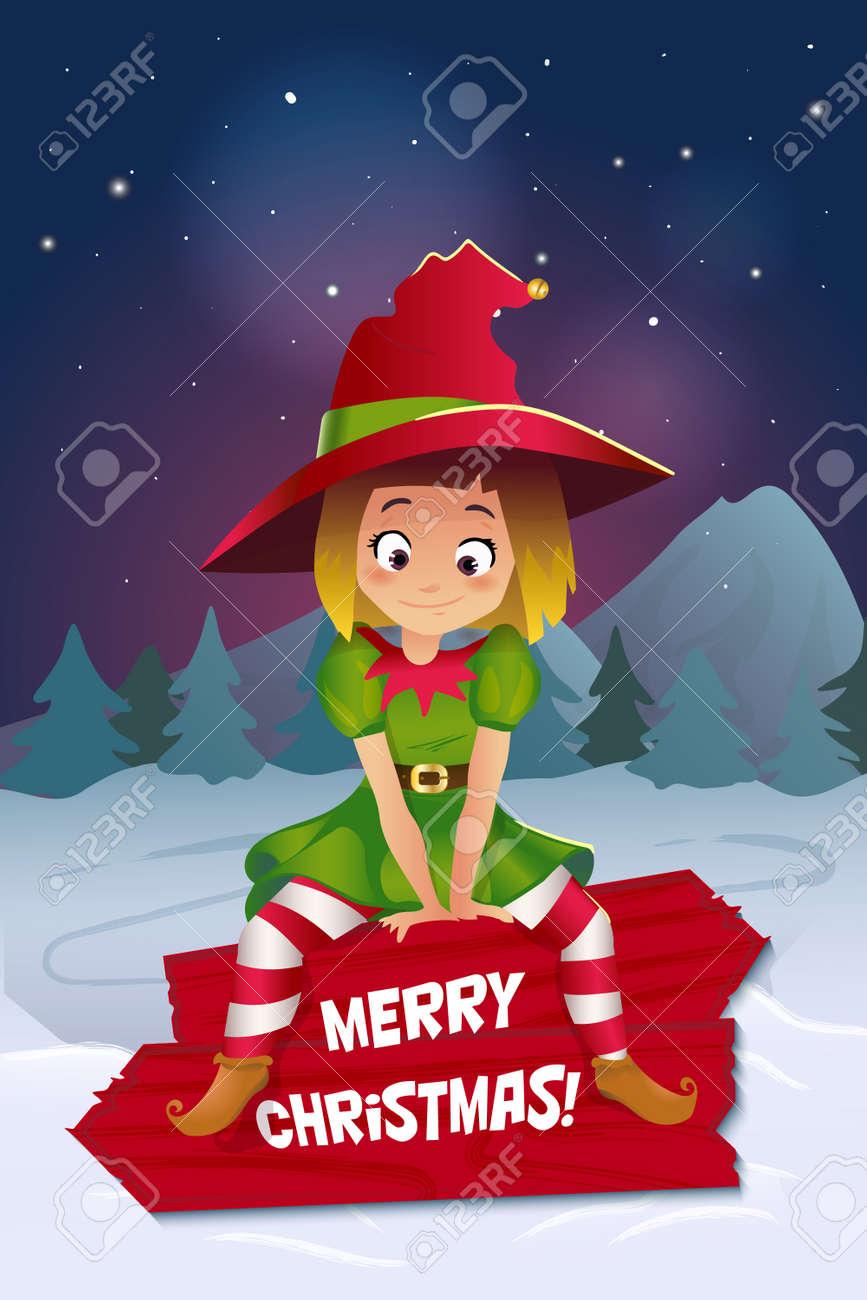 Frohe Weihnachten Bunte Karte Design, Santa Claus Elf Helfer. Guten ...