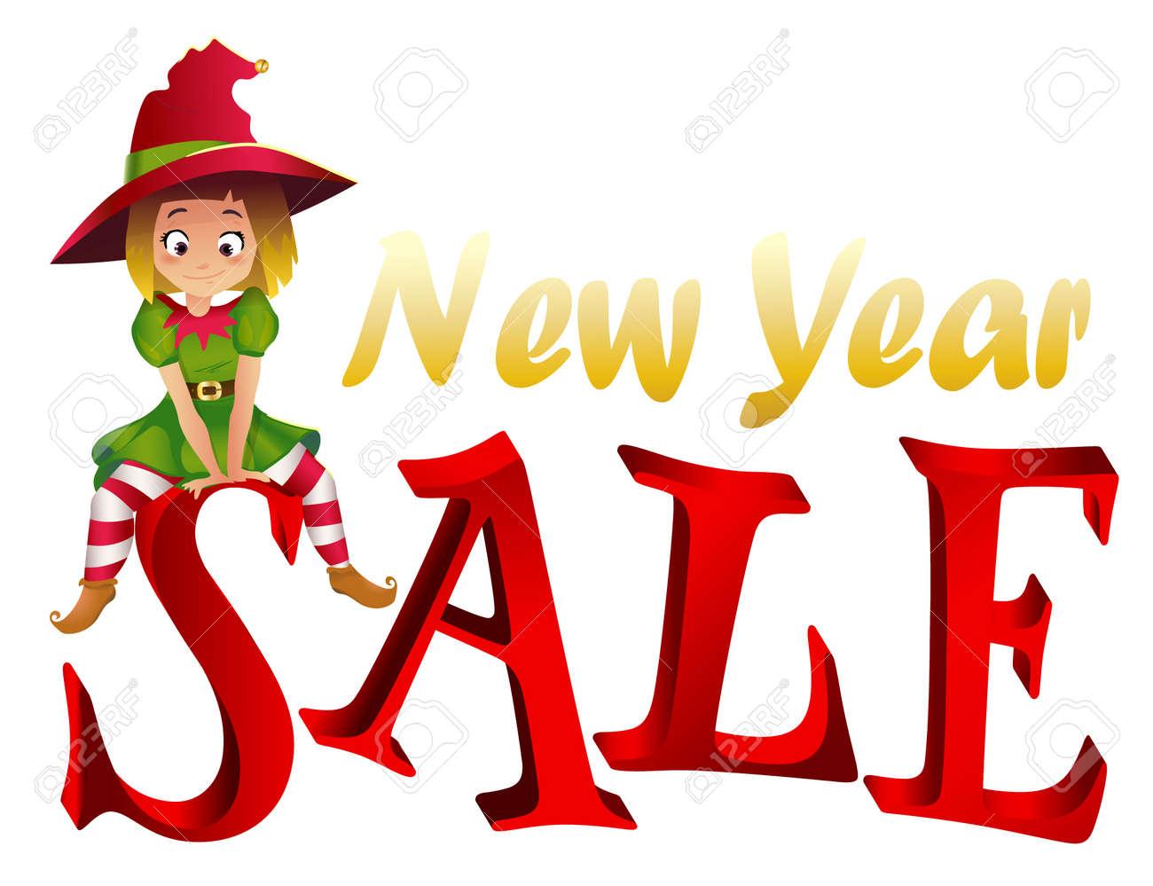 Christmas Sale Design Template Santa Claus Elf Helper Sitting