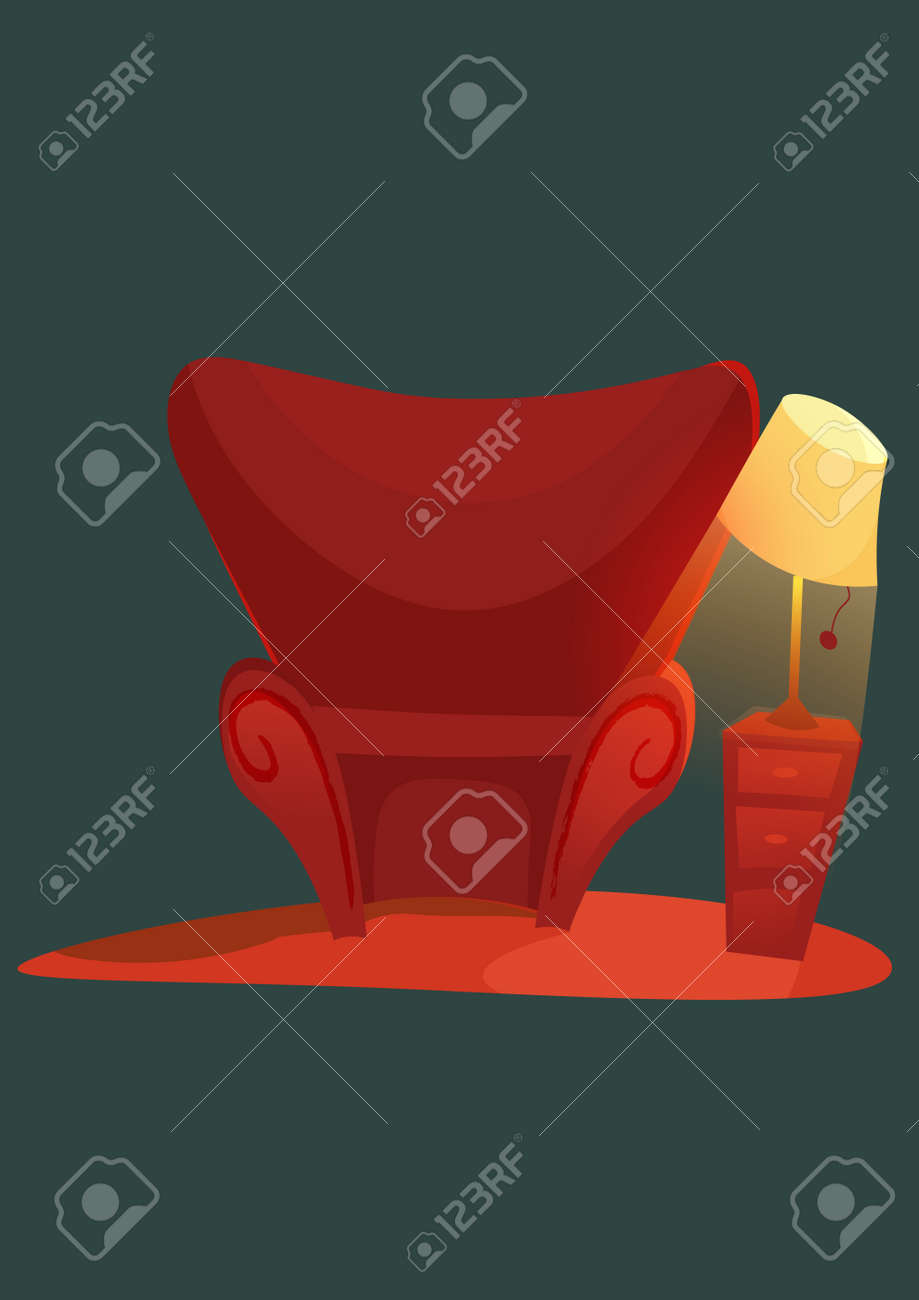 Pleasant Cozy Home Stuff Red Sofa Cartoon Armchair And Luminous Table Download Free Architecture Designs Fluibritishbridgeorg