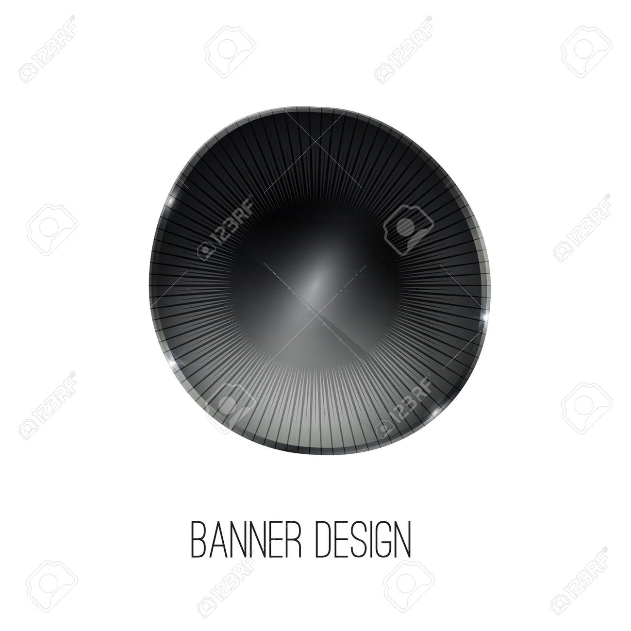 Vector Glossy Crystal Stone Banner. Black Abstract Geometric ...