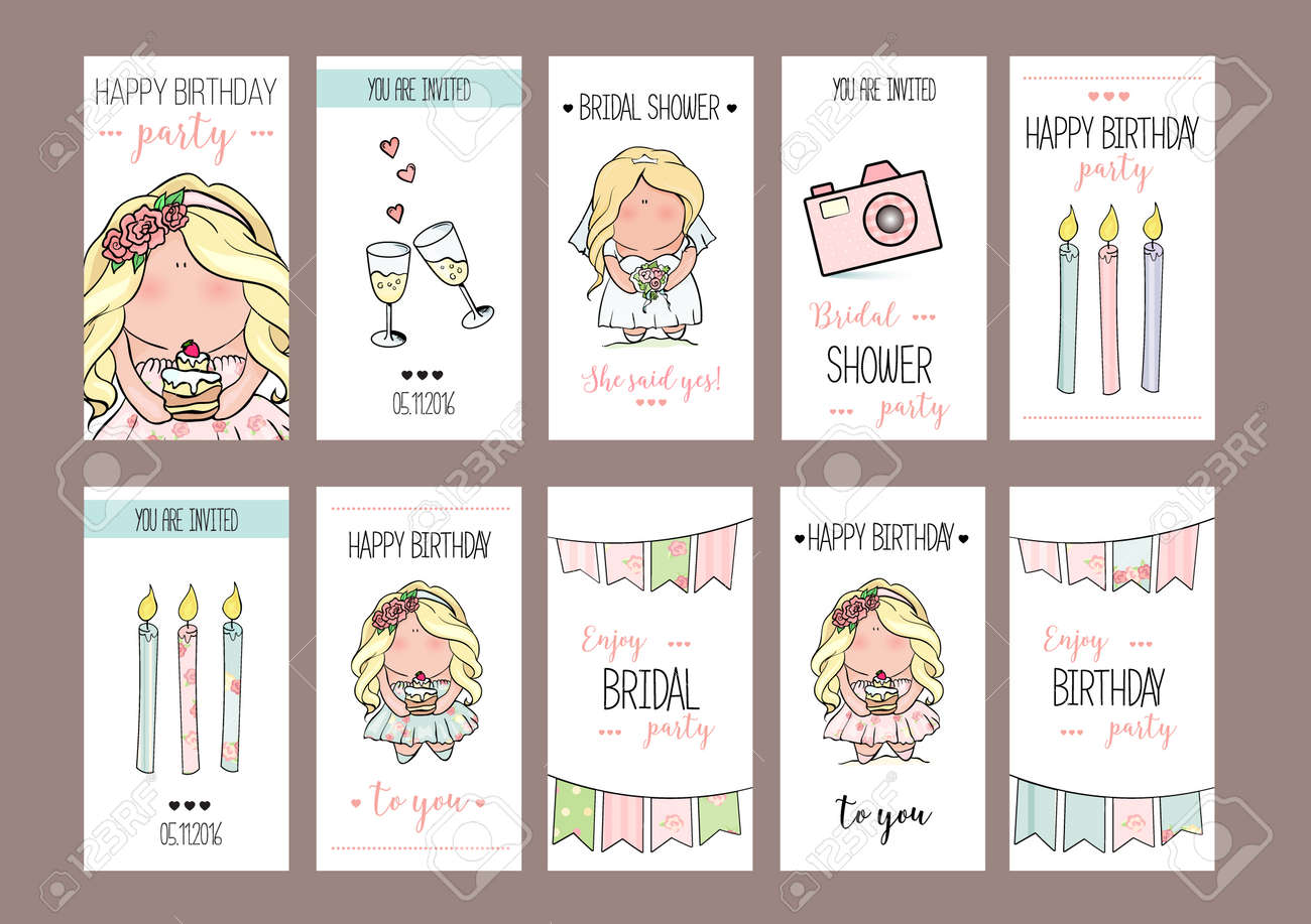 Bachelorette Or Birthday Party Cards Template Bridal Shower