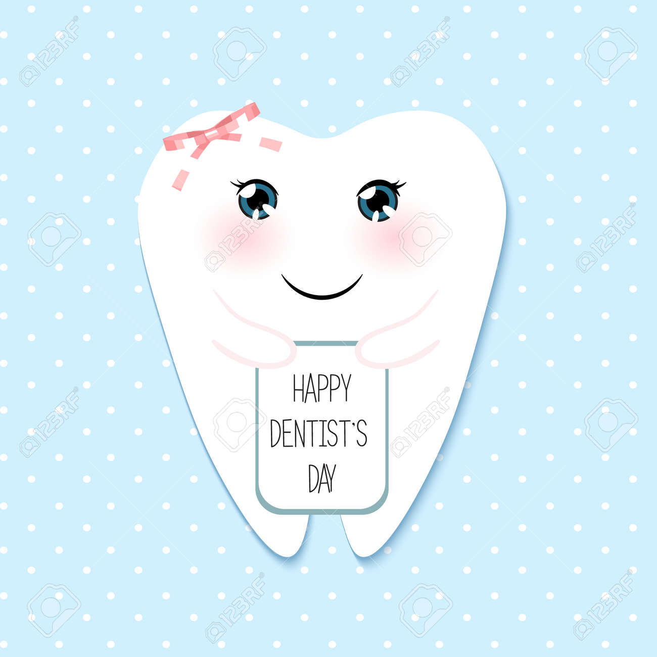Cute Greeting Card Happy Dentist Day Royalty Free Cliparts Vectors