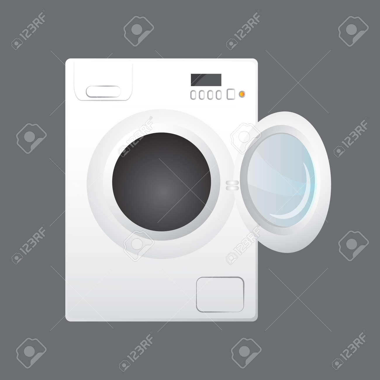 Betere Wasmachine Op Grijze Achtergrond Wordt Geïsoleerd Die Royalty QY-94