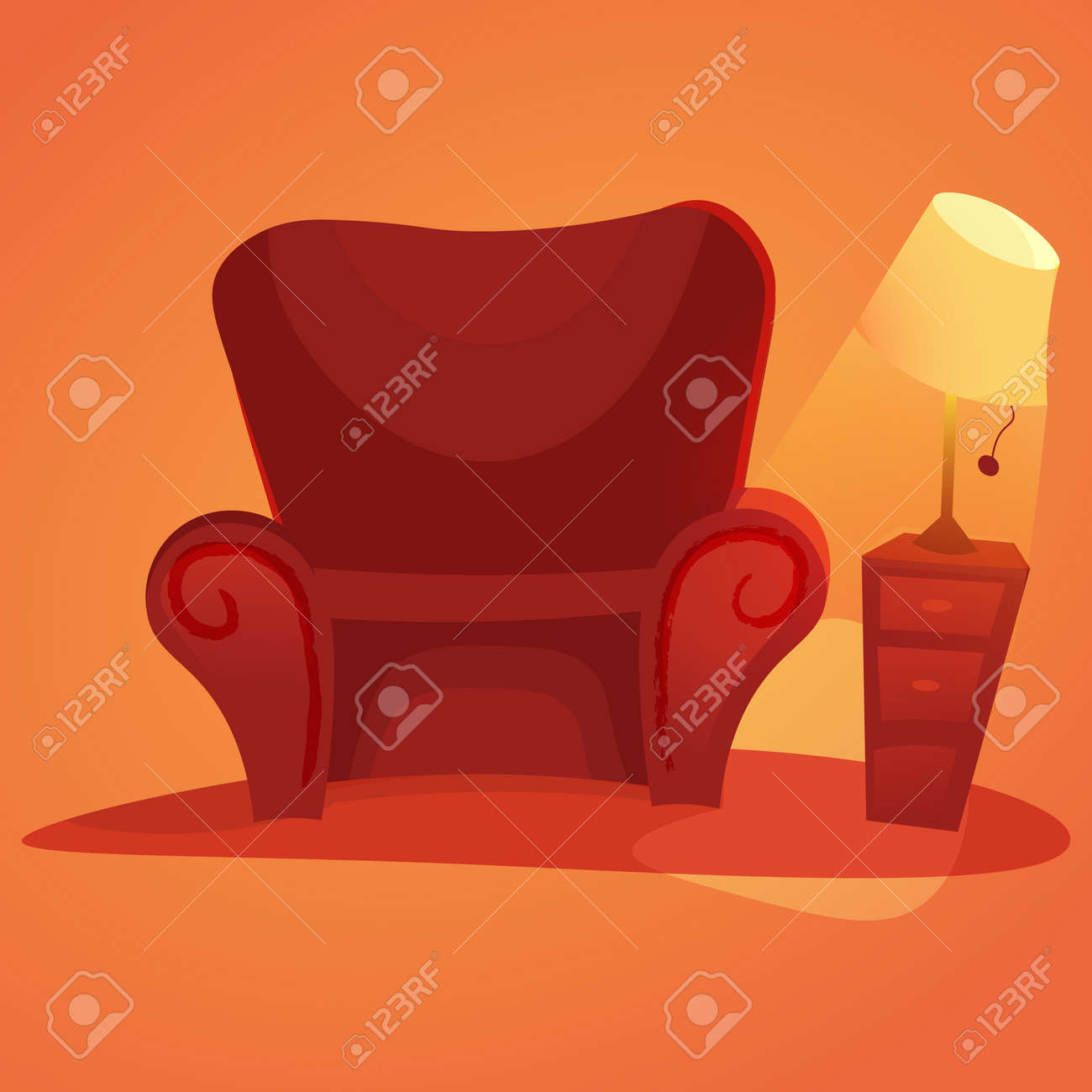 Incredible Cozy Home Stuff Red Sofa Cartoon Armchair And Luminous Table Interior Design Ideas Gresisoteloinfo