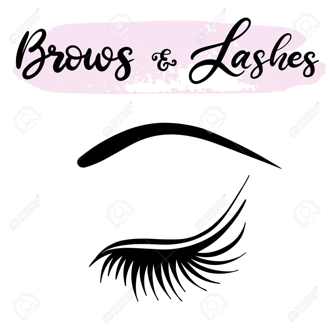 a9e0b1f2acf Illustration - Lashes lettering vector illustration for beauty salon,  fashion blog, logo, false eyelashes extensions maker, brow master,  professional makeup ...