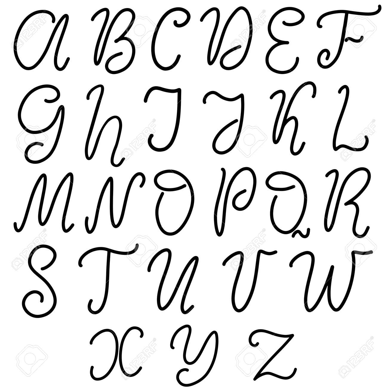 Alphabet in English  Hand drawn typeface, lettering script font