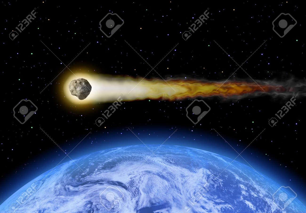 燃えるような証跡を残し地球近傍...