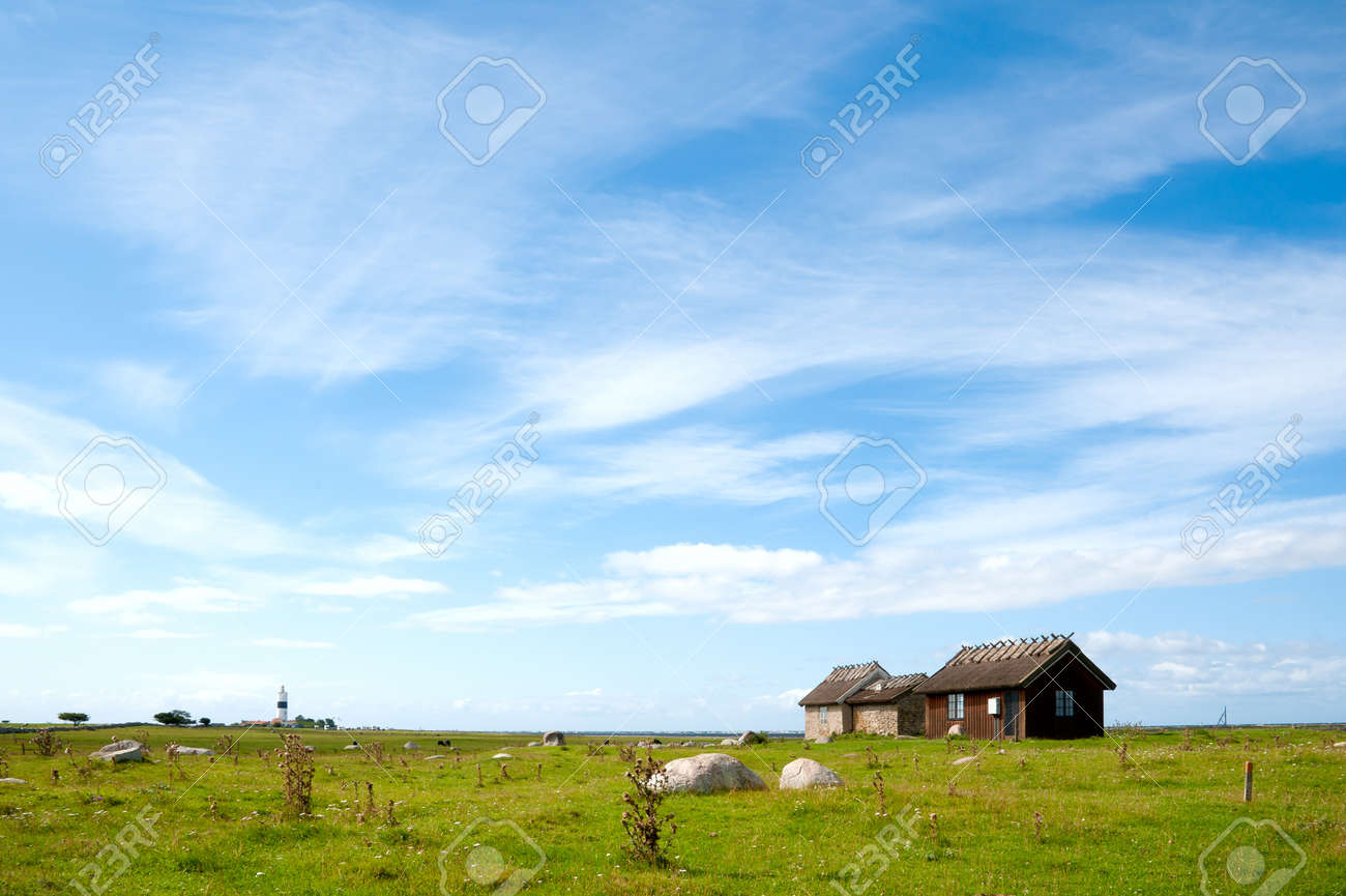 The lighthouse Long Ian (Lange Jan) at the south cape of the island Oeland (�land), Sweden Stock Photo - 10282139