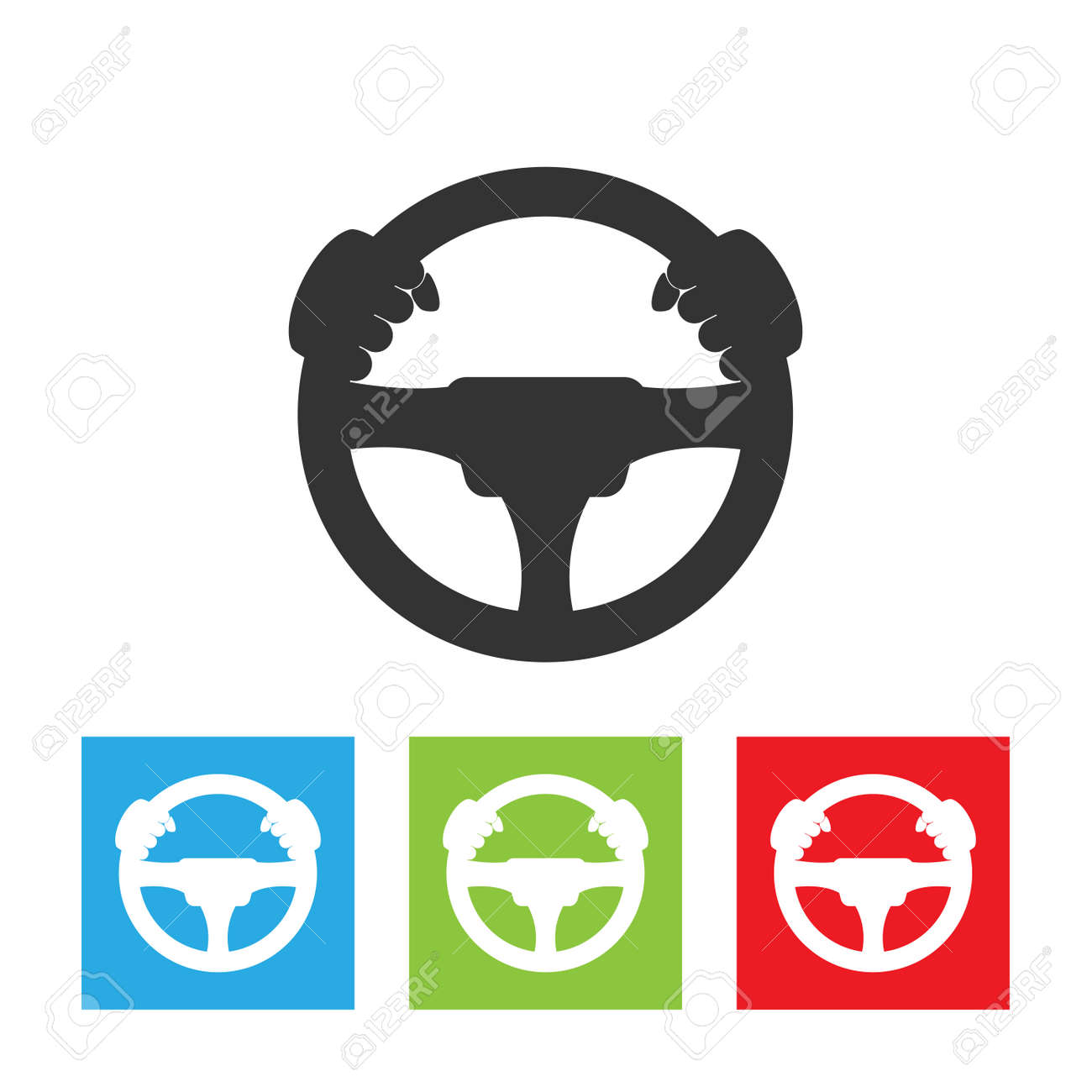 Driver icon. Simple logo of steering wheel on white background. Flat vector driver illustration. - 110374172