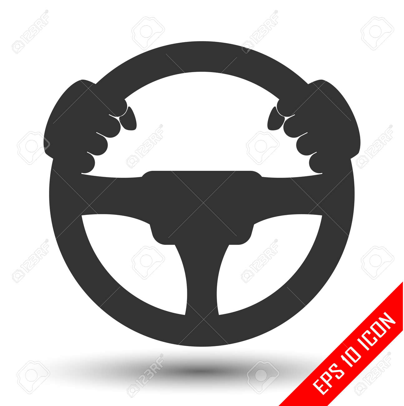 Driver Icon Flat Icon Of Steering Wheel On White Background