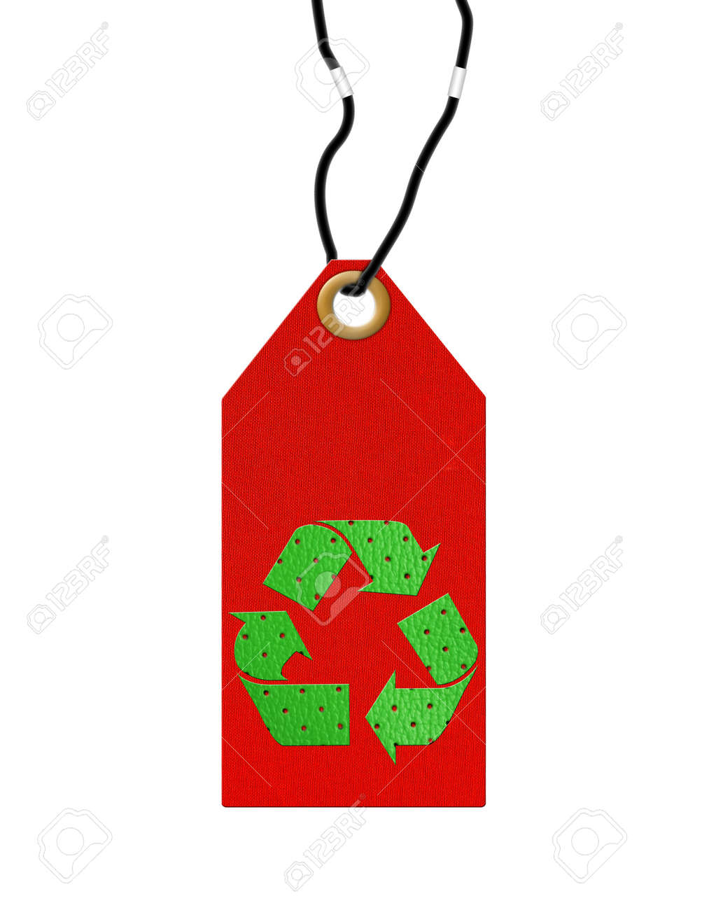 red tag with green recycle symbol Stock Photo - 8462015