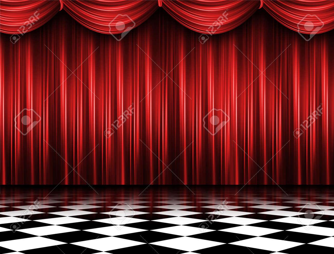 Red curtain spotlight - Red Curtain Stock Photo 11004087