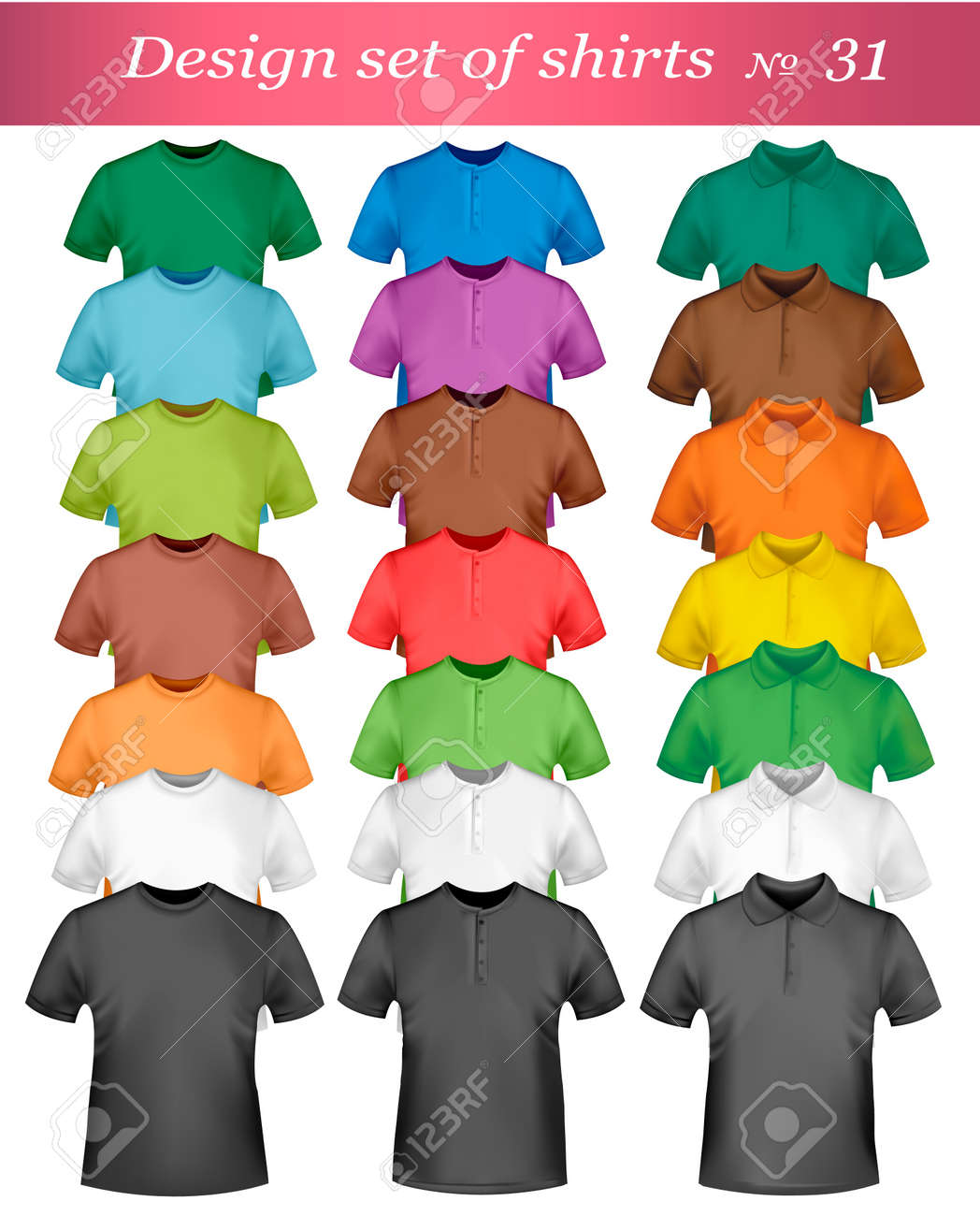 Black and colored t-shirts. Photo-realistic illustration. Stock Vector - 8791709