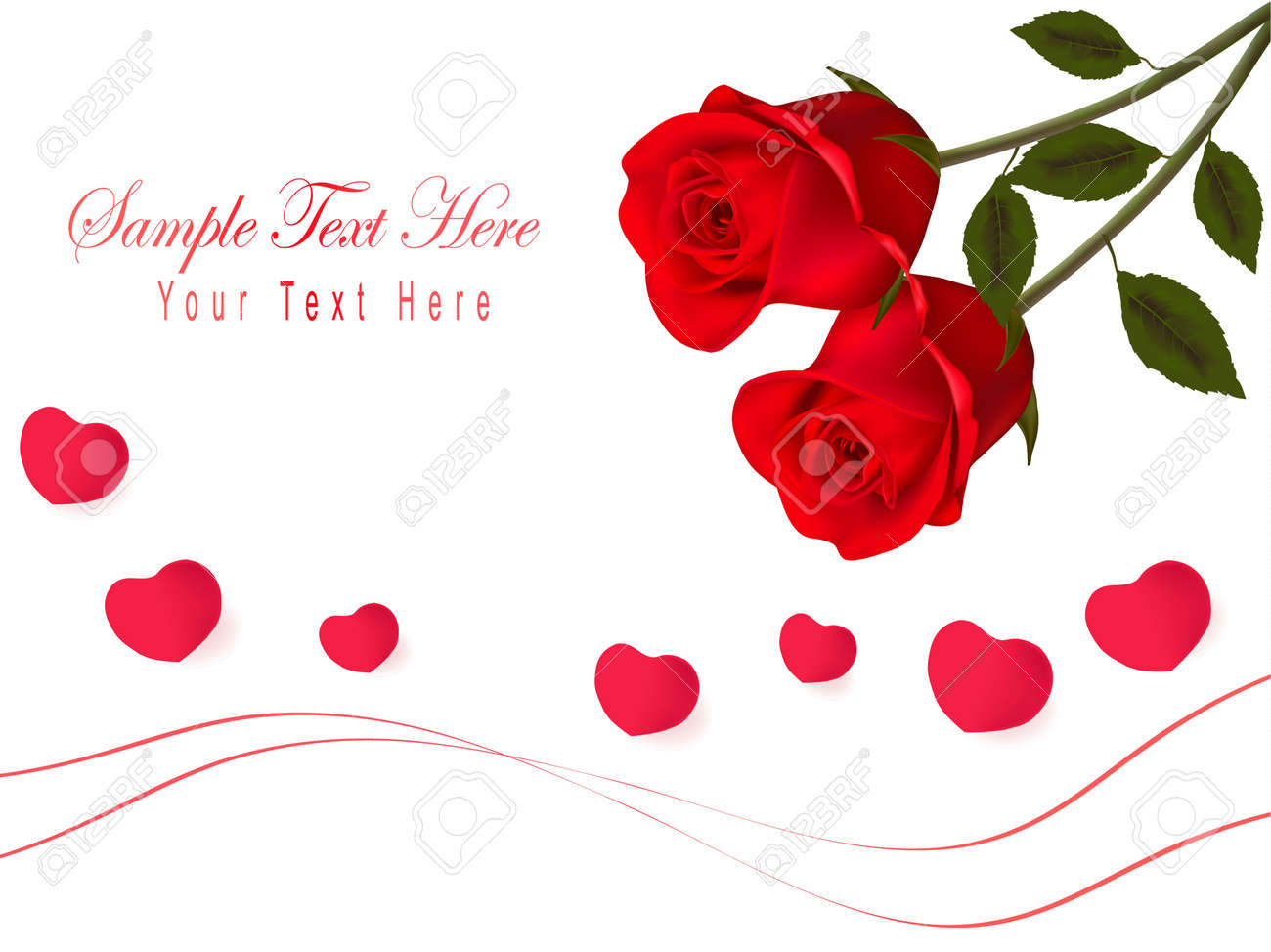 Valentines Day Card Red Roses And Gift Red Bow Illustration – Valentines Day Gift Card