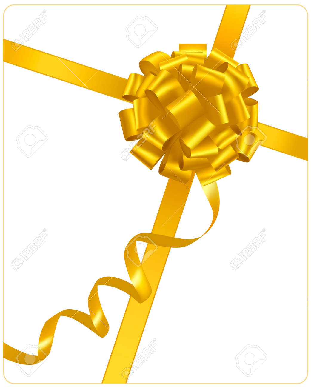 Yellow bow with ribbons. Stock Vector - 8792028