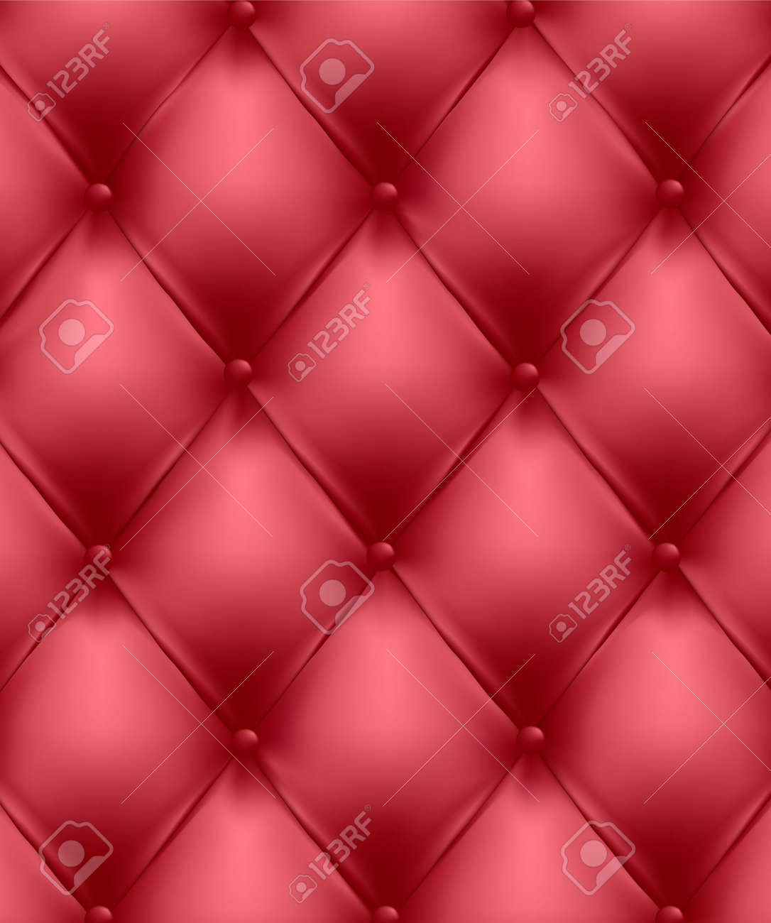 Red button-tufted leather background. Vector illustration. Stock Vector - 8898355