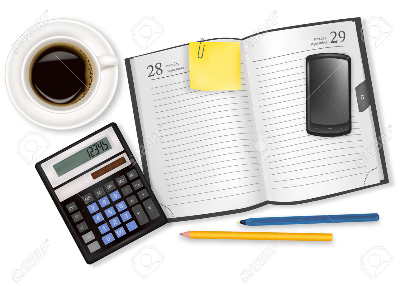 Background with business and office supplies. Vector. Stock Vector - 8898360