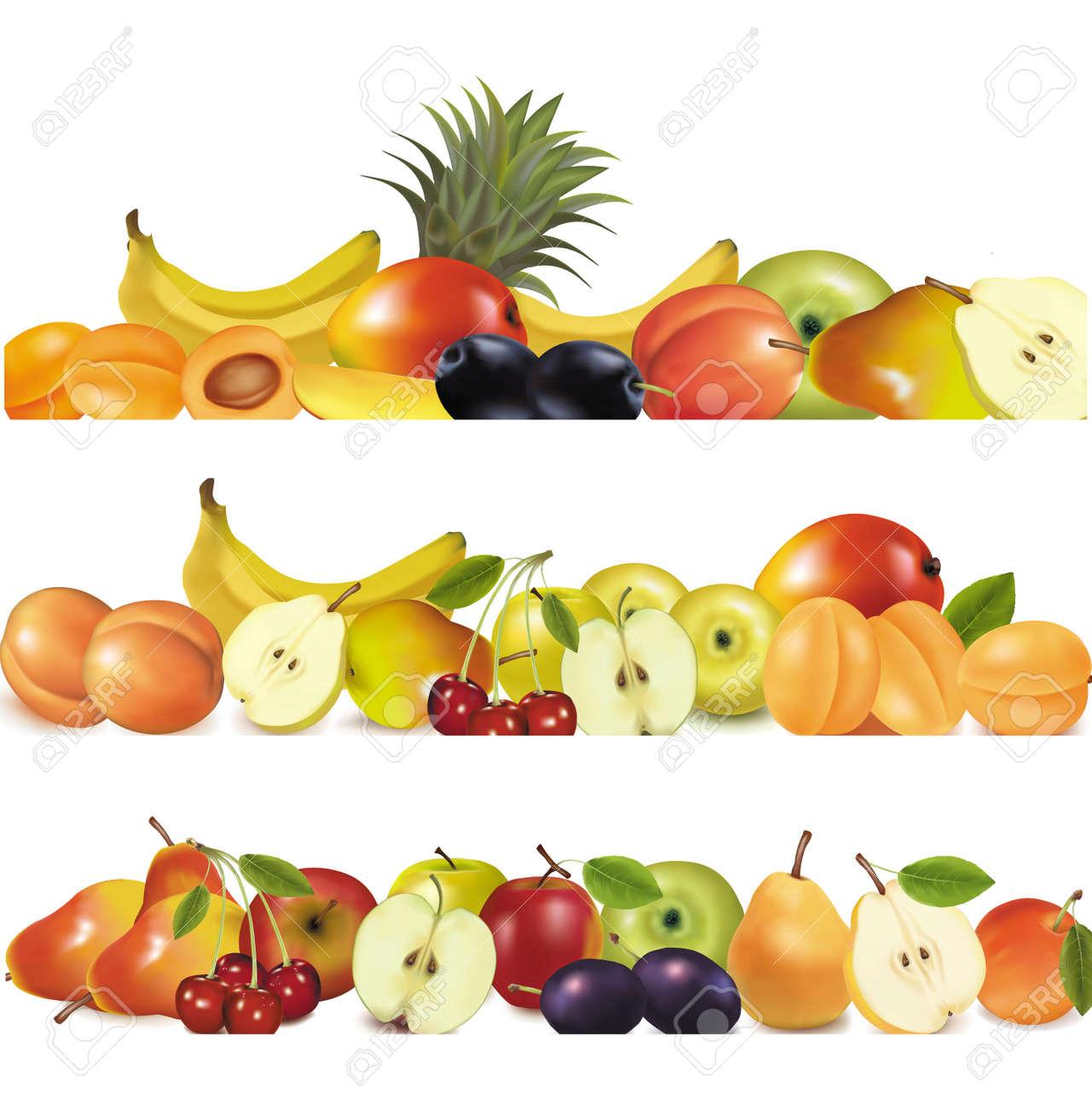 Three fruit design borders isolated on white Stock Vector - 8969556