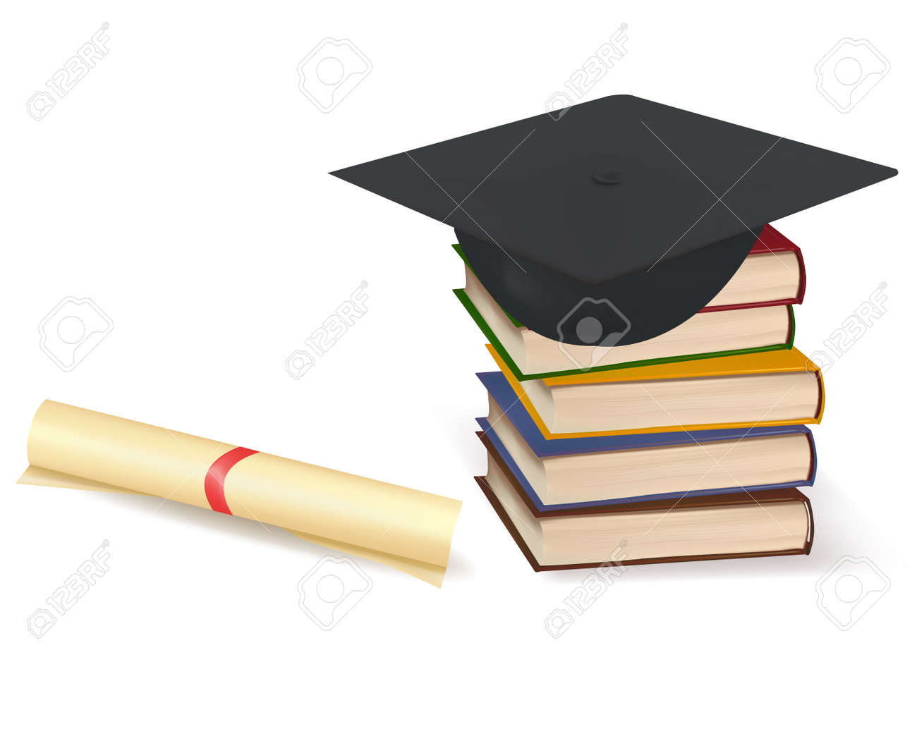 Graduation cap and diploma laying on stacks of books Stock Vector - 8969508