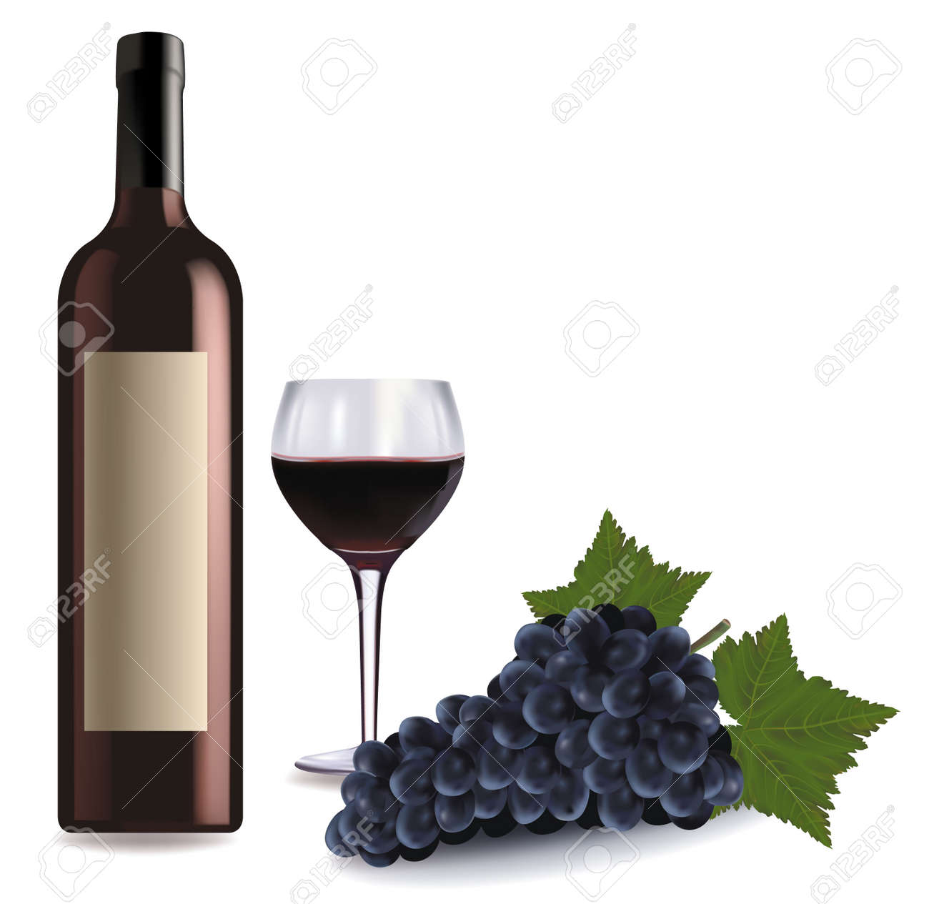 A wine bottle and glass of wine and some grapes Stock Vector - 8969510