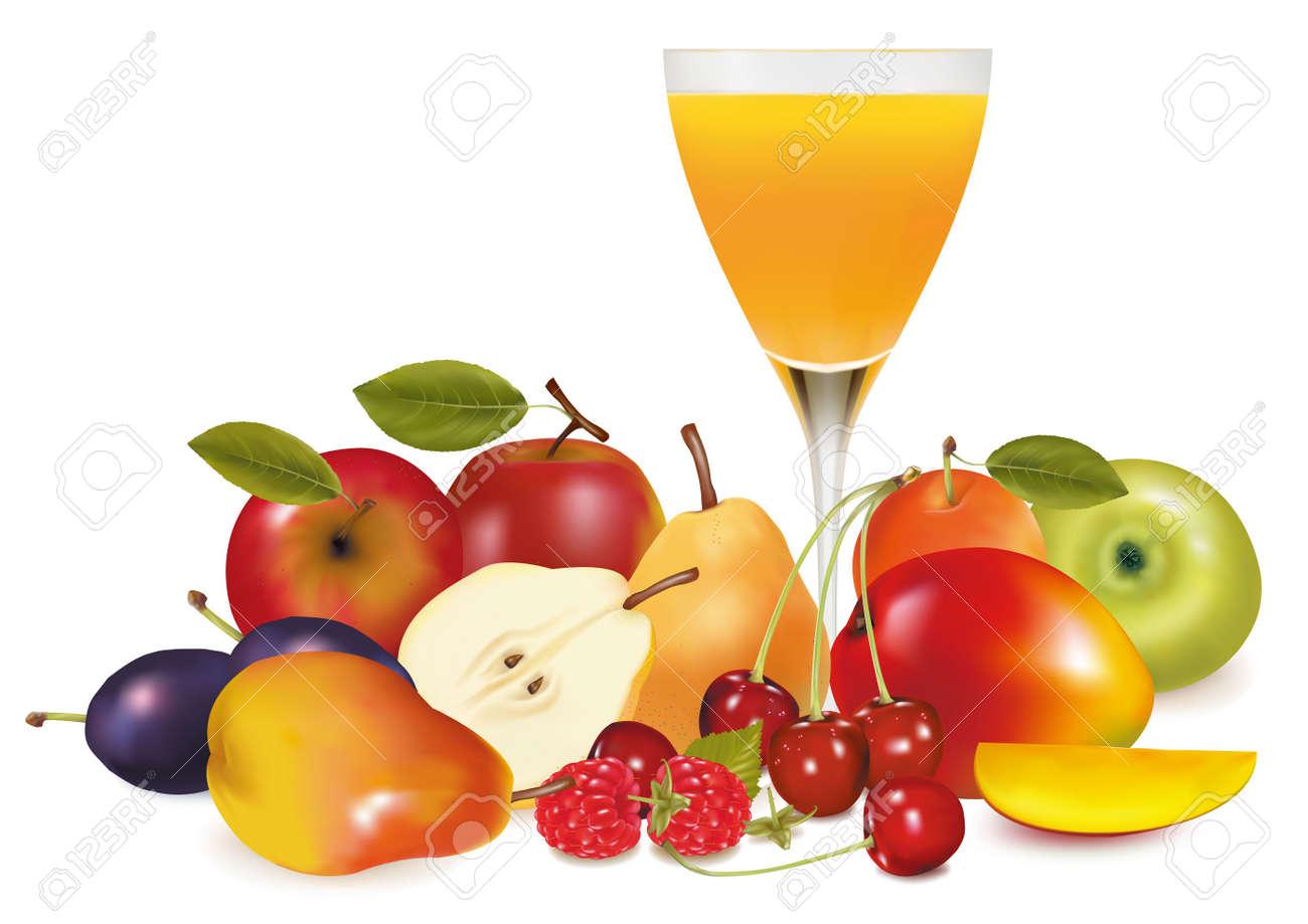 Fresh fruit and juice. illustration. - 9052887