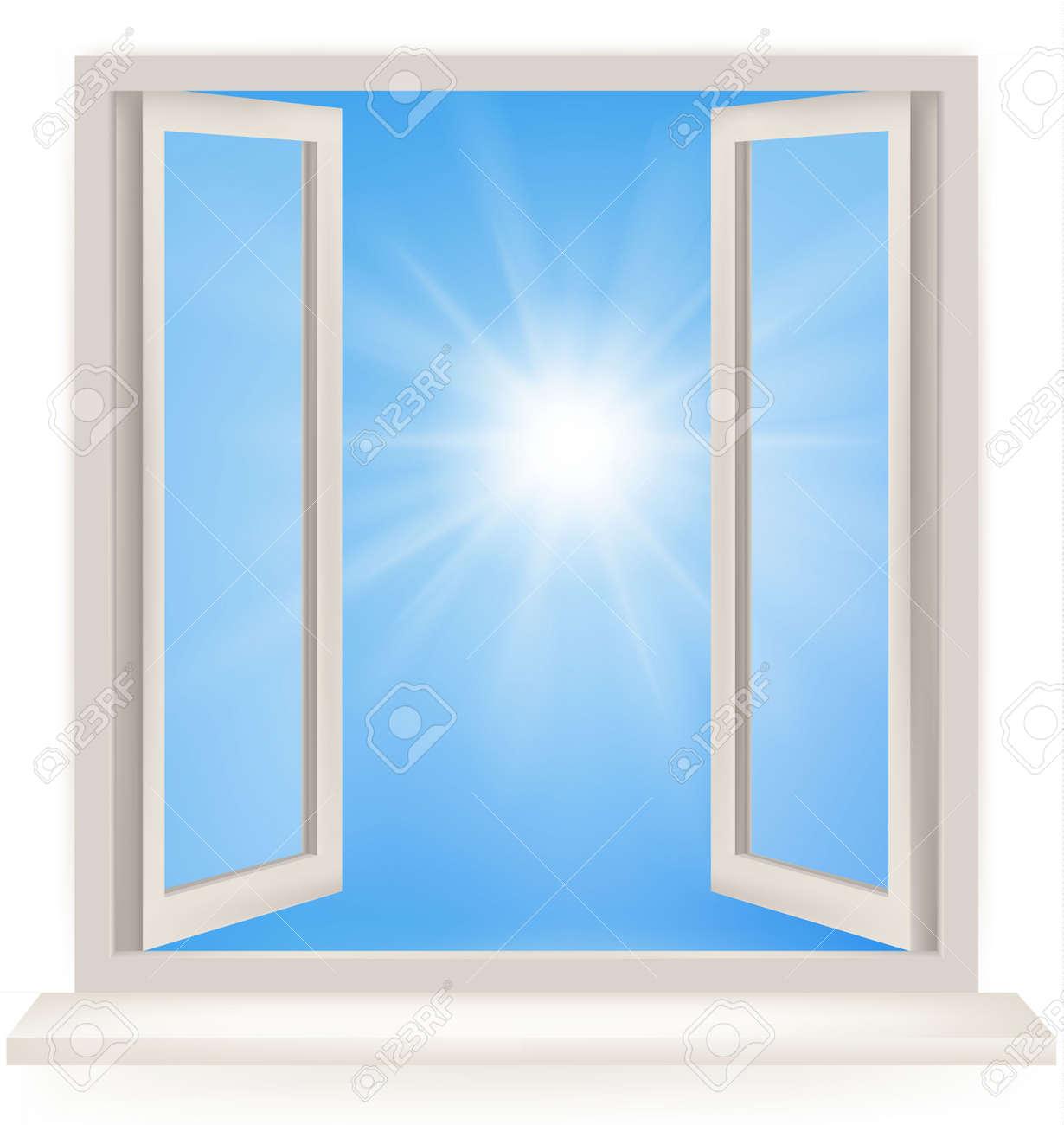 Offenes fenster von außen  Offene Fenster Gegen Eine Weiße Wand Und Den Bewölkten Himmel Und ...