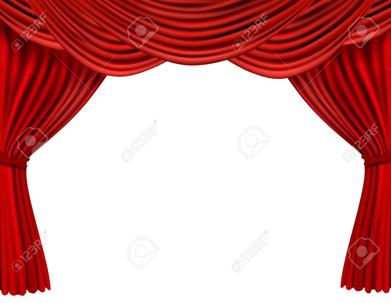 background with red velvet curtain stock vector - Velvet Curtain