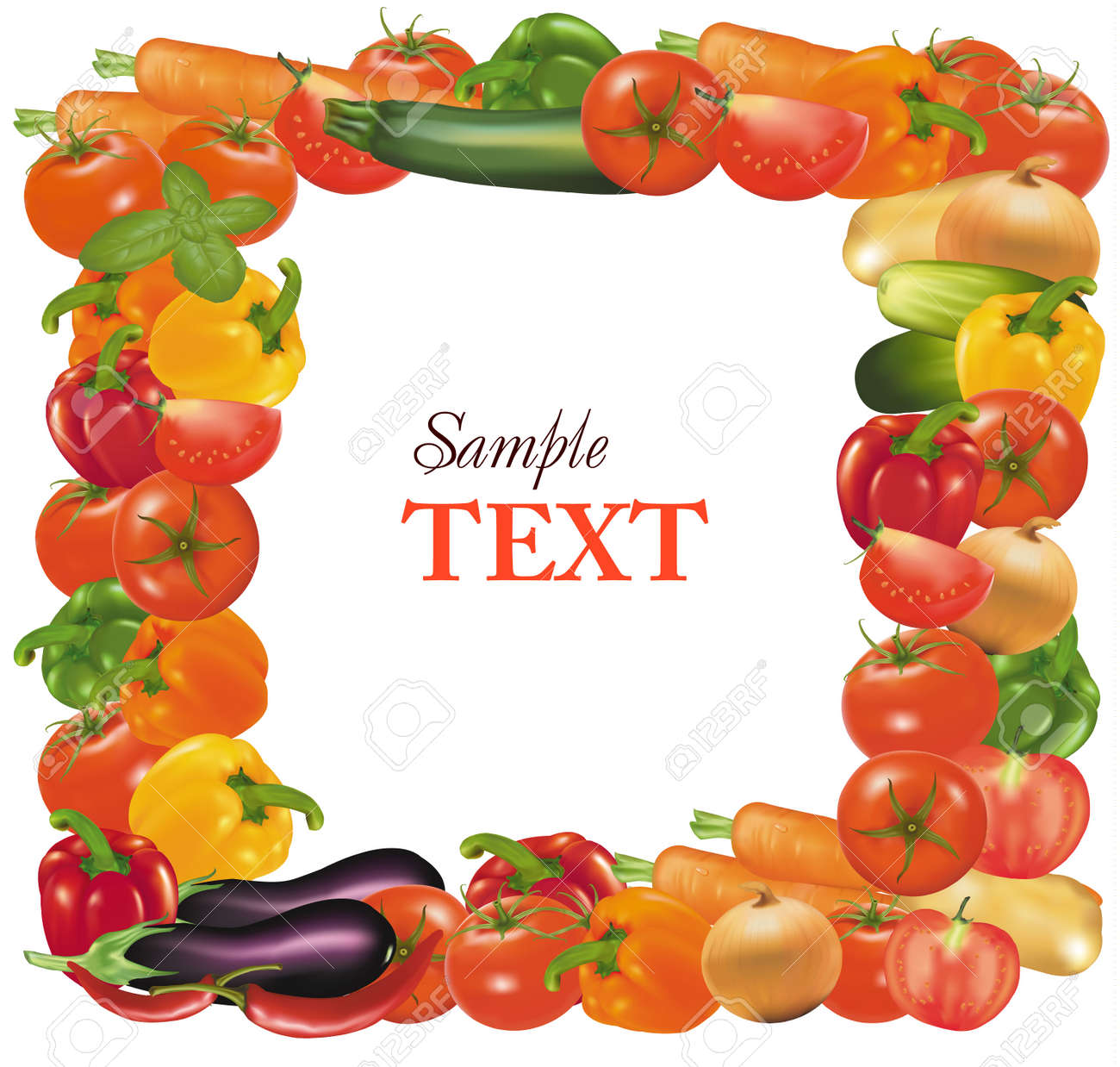 Vegetable Garden Border Clipart Frame Made From Vegetables Stock Vector 9053478