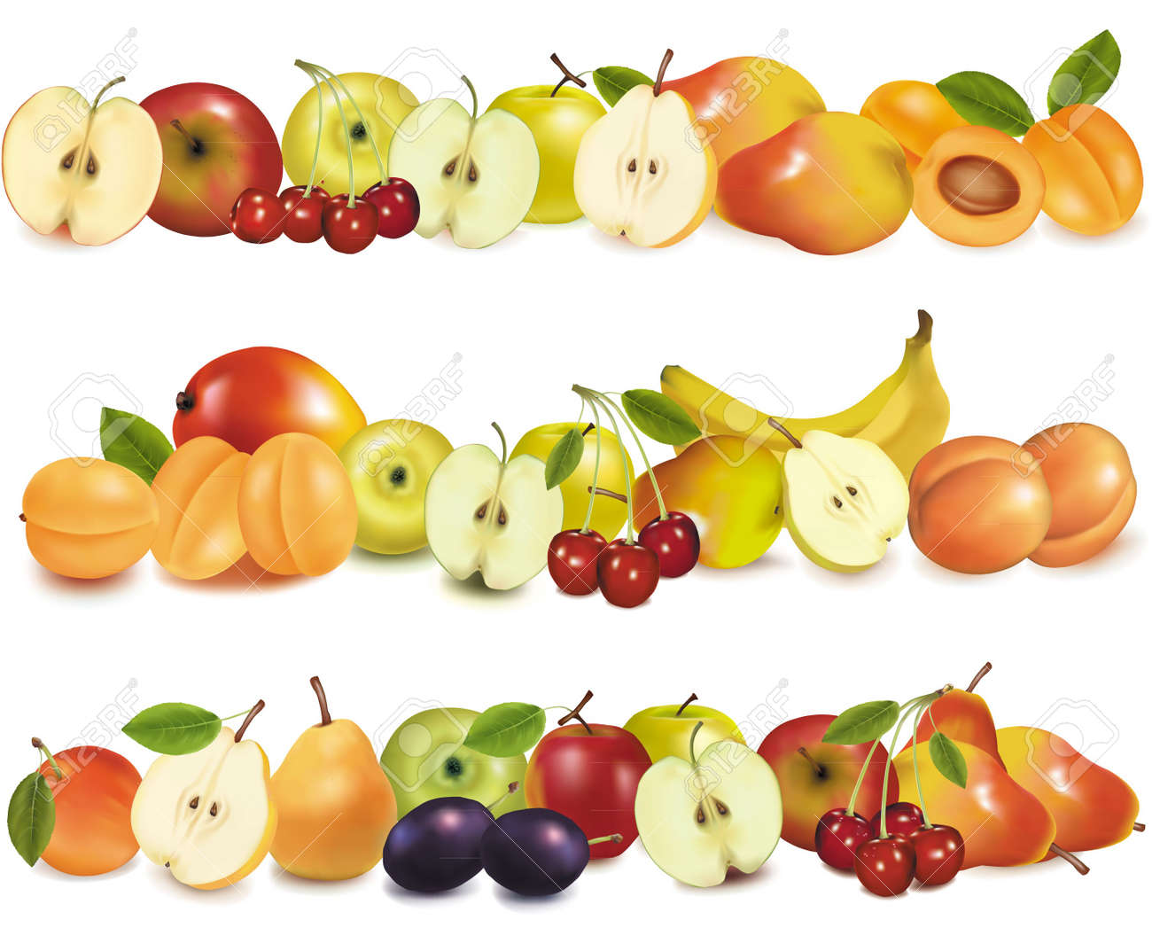 Three fruit design borders isolated on white. Vector. Stock Vector - 9108915