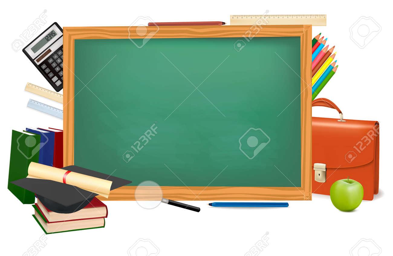 Back to school. Green desk with school supplies. Vector. - 9214649