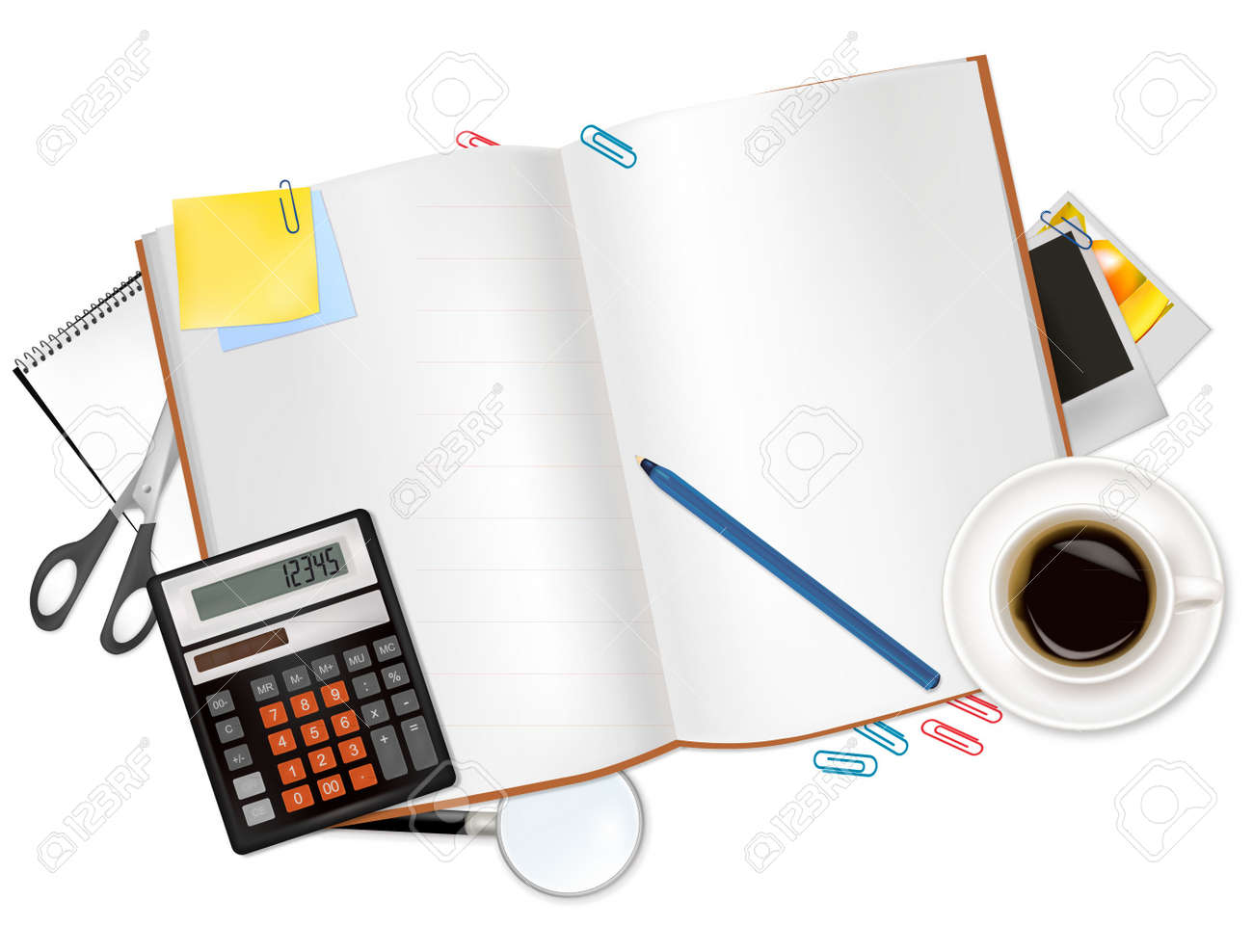 Calculator and office supplies. Stock Vector - 9219165